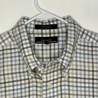 Faconnable Mens Designer Shirt LS White Blue Gray Checked XL