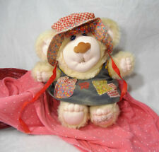 Coleco Furskins Baby Thistle Teddy Bear Plush Marchon Country Mary Lou Dress