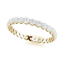 Yellow Gold Eternity Band H Si2 1.50Ct Round Diamond Shared Prong Gallery 14k