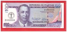 EV 333333 2008 PHILIPPINES 100 peso UP Centennial 100th Anniversary Solid