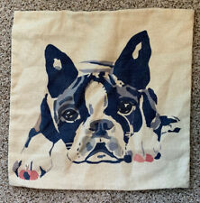"French Bulldog Throw Pillow Cover Soft Canvas Texture Frenchie 17"" x 17"""