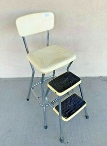 VINTAGE COSCO CREAM TALL COUNTER CHAIR STEP STOOL