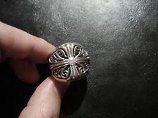Rare CHROME HEARTS Diamond LARGE FLORAL CROSS RING
