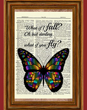 Inspirational Butterfly Dictionary Art Print Poster Book Picture Fly Fall Quote