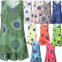 Womens Plus Size Print Midi Dress Loose Shift Sleeveless Tank Vest Summer Dress