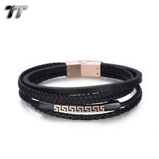 LB245 T/&T Black Leather Bracelet Wristband