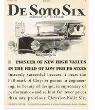 1928 De Soto Six art Automobile Car Vtg Print Ad