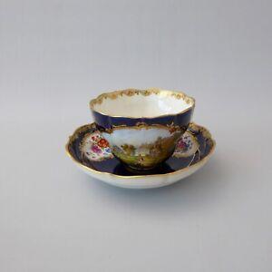 Meissen 18. / 19. Jahrhundert kobaltblau Lupen Miniatur Malerei Tasse Untertasse