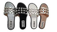 WOMENS LADIES STUDDED FLAT SLIDER CAGE SUMMER HOLIDAY SLIP ON SANDALS SHOES 3-8