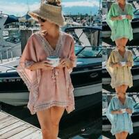 Womens Summer Casual Beach Lace Tassels Purl Blouse Ladies Overall Loose V Neck