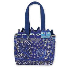 Laurel Burch Blue Purple Indigo Cat Ears Medium Zipper Tote Canvas Bag NWT