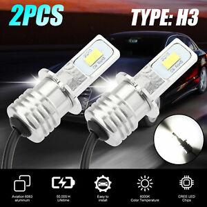 2PCS H3 LED Fog Light Headlight Bulbs Car Driving Lamp Kit DRL White High Power