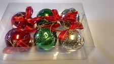 Set Of 6 Gold Green & Red Round Bells Ornaments With Satin Bows New In Package ^