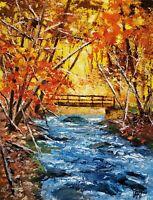 YARY DLUHOS ORIGINAL OIL PAINTING Forest Landscape River Bridge Sunrise Sunlight