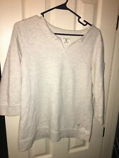 Lotus Nation Pullover Sweatshirt Woman Size Large Color Off-White With3/4 Sleeve