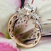 Three Stone 2.50 ct Princess Cut Diamond 14k Rose Gold Vintage Engagement Ring