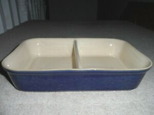 DENBY CLASSIC BLUE OVEN DIVIDED SERVING VEGETABLE DISH - RARE IN GREAT CONDITION