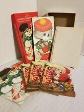 VINTAGE HALLMARK CHRISTMAS CARDS 8 SANTA CLAUS SNOWMAN CAT UNUSED CHILDRENS KIDS