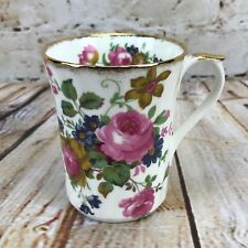 Coffee Tea Mug Pink Rose Violet Floral Spray Bone China England Royal Patrician