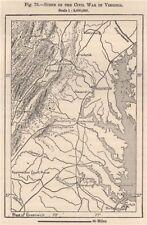 Scène de la guerre civile en virginie 1885 old antique vintage carte plan graphique