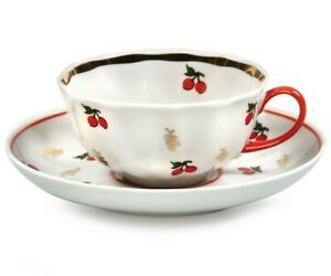 6.4 fl oz Porcelain Teacup and Saucer Set with Cherry Decal by Dulevo, Russia