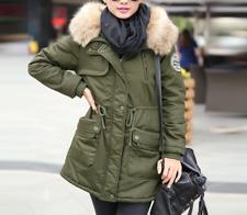 Women's Winter Fur Hooded Mid Long Coat Jacket Outwear Parka Warm Thick M-4XL
