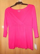 AGLOW NWT Woman Lady Med hot pink 3/4 sleeve  maternity top V-neckline Soft!