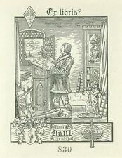 EX-LIBRIS  de Jean-Pierre DAUL par Leo Schall. Strasbourg.