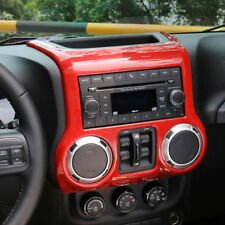 Red Interior Chrome Center Control Panel Trim Cover For Jeep Wrangler JK 11-17