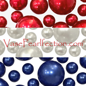 Patriotic Floating Red, White, and Blue Pearls - No Hole Jumbo & Assorted Sizes