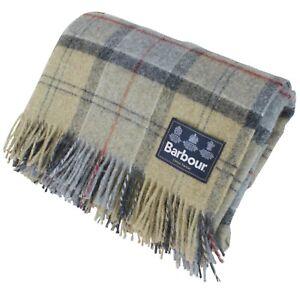Barbour Tartan 100% Wool Throw Blanket Green Multi Check