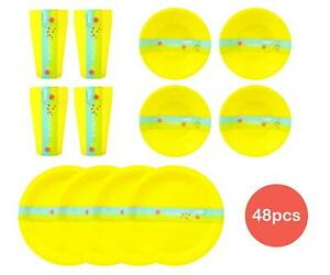 48pc Picnic Set Plastic Reusable Bowls Cups Plates Barbecue Summer Party Yellow
