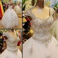 2018 Cap Sleeves Luxury Crystals cathedral train wedding bridal dress