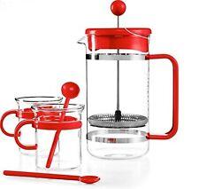 Bodum Kitchen Red Bistro French Press 5 Piece Set Coffee Maker Glass Mugs Spoons
