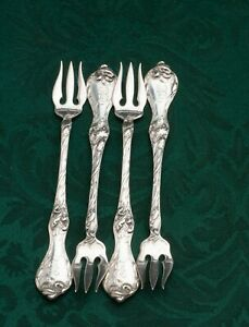 Les Cinq Fleurs by Reed & Barton Sterling Silver set of 4 Cocktail Forks 5.25""