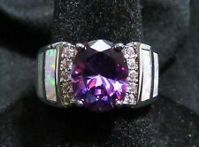 Sterling 925 SF Size 6 Ring White Lab Opal & 8*10mm Amethyst & White Topaz