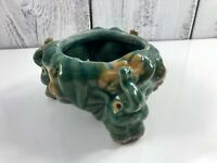 Vintage Lucky Elephant Planter Bowl Trunk up Green Majolica Pottery