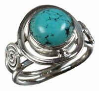 Handmade 925 Solid Sterling Silver Ring Natural Turquoise US Size 7.5 R2685