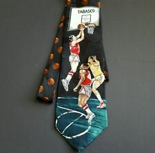 Tabasco Basketball Novelty Tie Men's Necktie Black Teal