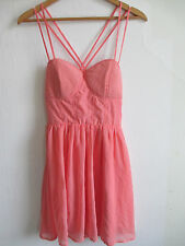 womens short salmon pink sexy dress size M Medium Juniors sleeveless above knee