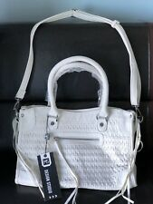 MMS DS Vegan White Faux Leather Front Woven  Shoulder Handbag Purse NWT