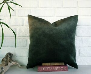 Forest green color thick velvet-baby face super soft fabric pillow cover-1QTY
