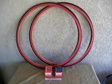 [2]   27 X 1-1/4 RED-WALL BICYCLE TIRES & [2] TUBES. FOR YOUR ROAD BIKE, TRACK