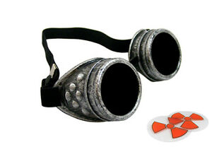Antique Silver Steampunk Cyber Goggles Welding Goth Cosplay Vintage Rustic