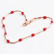 "7"" Antique Womens Rose Gold Filled Red Enamel Bead For Snake Chain Link Bracelet"