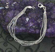 "925 Sterling Silver Multi-Strand Italian Beaded Bracelet Rhodium Plated 7.25"""