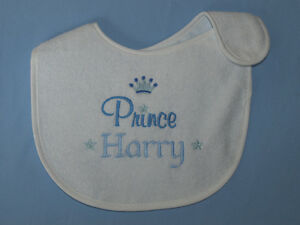 Unique Personalised Prince Princess bib can be personalised