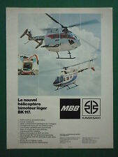 10/1982 PUB MBB KAWASAKI  TWIN JET HELICOPTER BK 117 HUBSCHRAUBER FRENCH AD