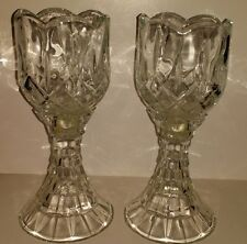 A Pair of Two Piece Crystal Tulip Candle Holder