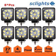 8X 27W 3D Optical LED Work Light Flood Lamp Offroad Truck SUV UTV 4WD 12V 24V